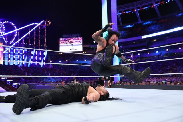 The Undertaker spiking on Roman Reigns at Wrestlemania 33
