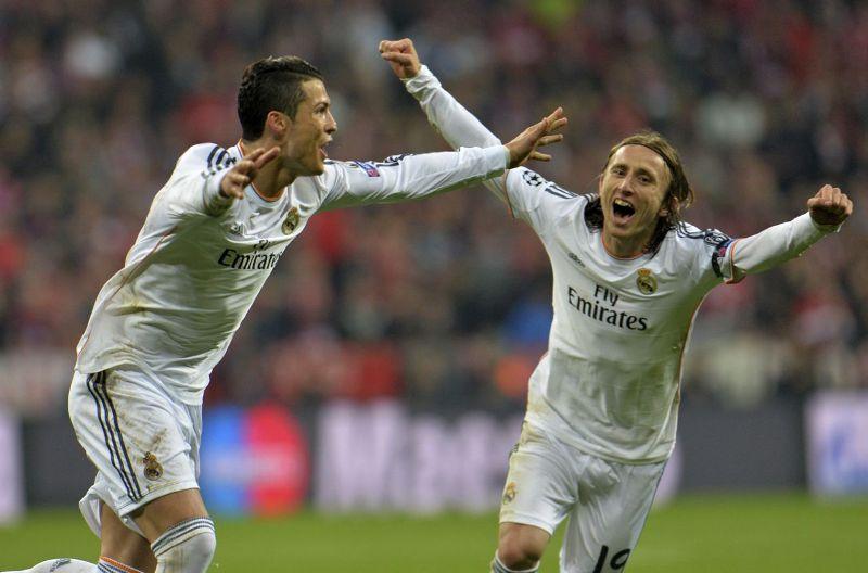 Cristiano Ronaldo and Luka Modric celebrating Madrid's win