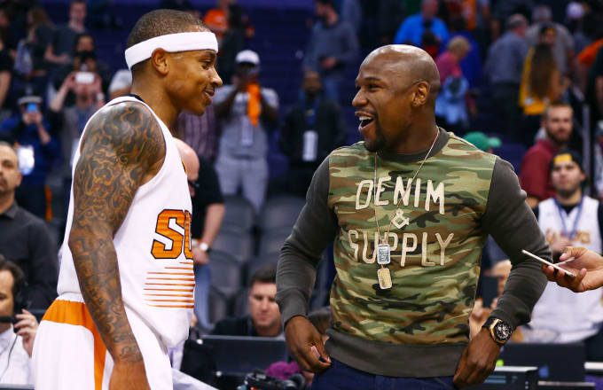 Isaiah Thomas receices thumbs up from Mayweather