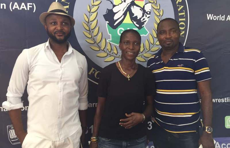 Mr. Charles Osie Asiebe [far right] President of the Ghana Armwrestling Association