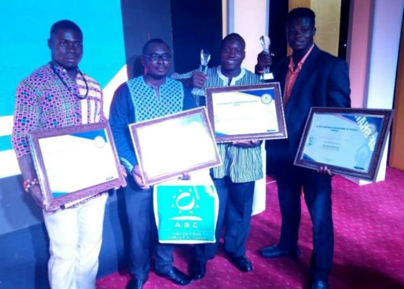 Team weightlifting pose for the cameras after winning an unprecedented five awards at the 42nd MTN-SWAG Awards Night