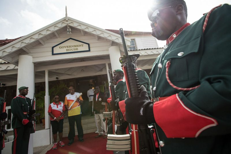 A gaurd of honour at Government House for the Baton