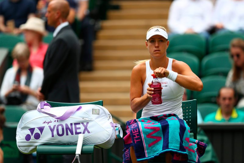 Angelique Kerber cooling it down at the 2017 Wimbledon Open