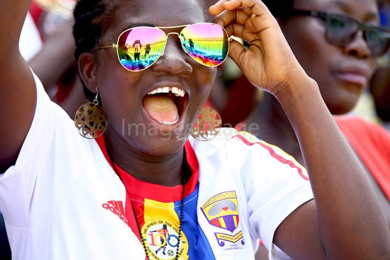 Hearts of Oak lady fan enjoying the game with her rainbow coloured shades - PHOTO by Images Image
