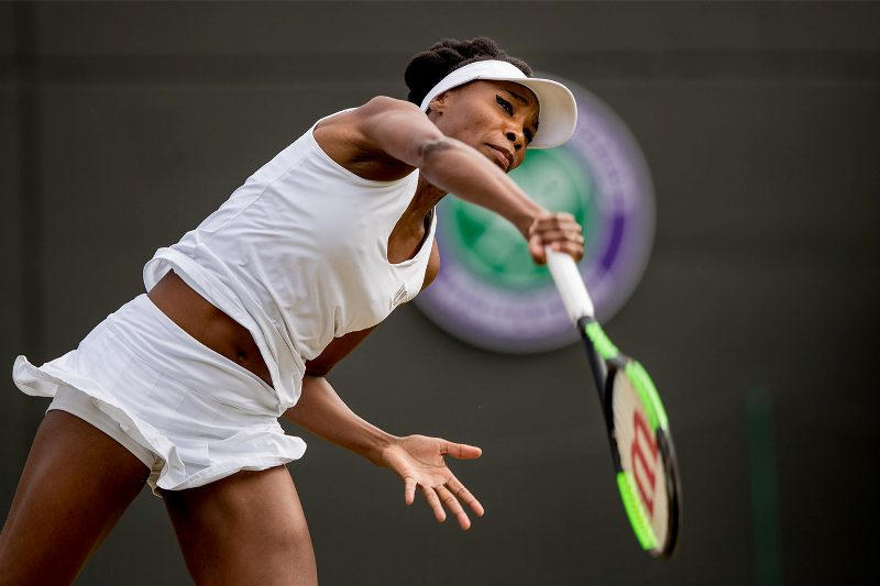 Venus Williams strikes with the fore arm