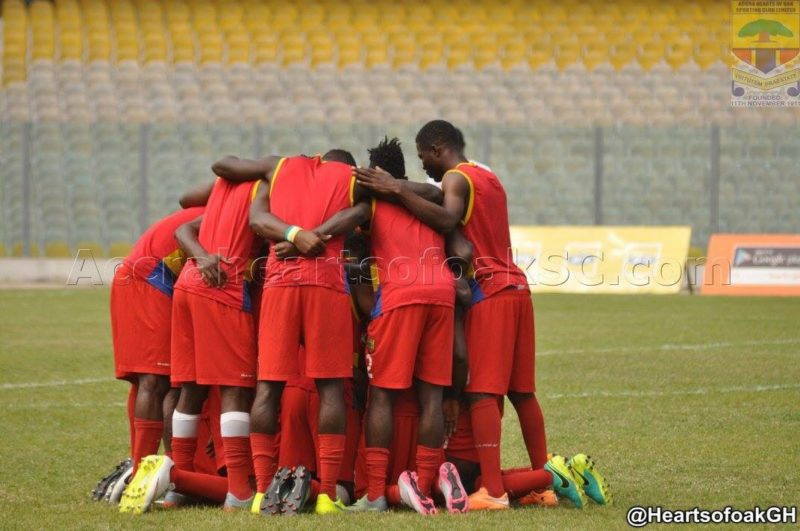 Hearts of Oak players seeking for the face of the Lord before their warm up