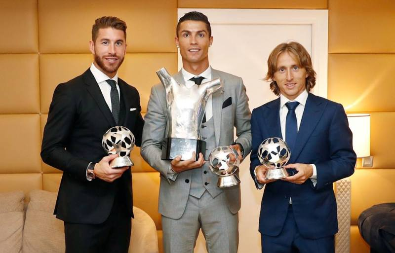 From left - Sergio Ramos, Cristianom Ronaldo and Luka Modric