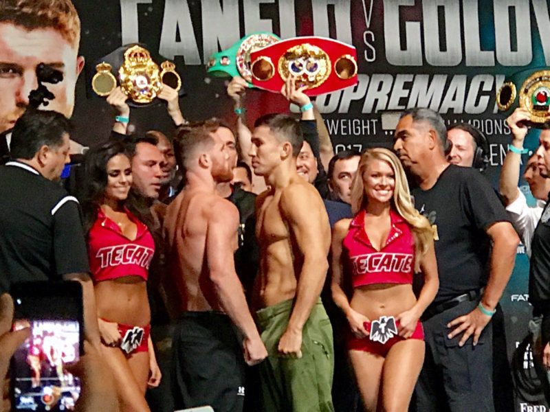 Canelo Alvarez and Gennady Golovkin face off at the weight-in