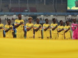 The team of Mali sing their national anthem