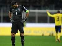 Gianluigi Buffon of Italy dejected at the end of the FIFA 2018 World Cup Qualifier Play-Off