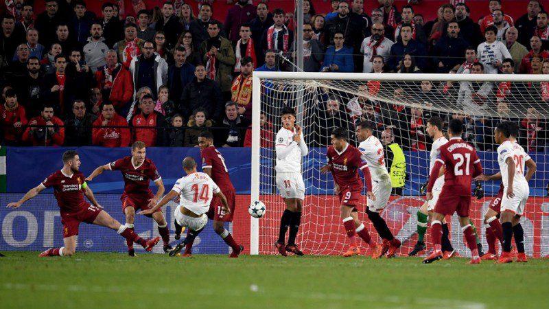 Guido Pizarro of Sevilla scores his sides third goal