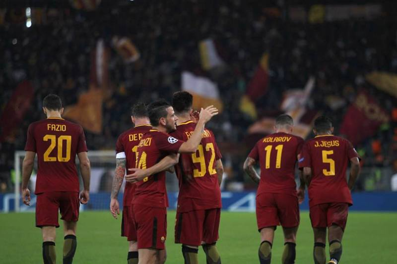 Perotti being congratulated by his teammates