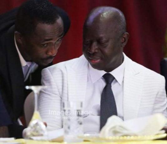 Thomas Boakye-Agyeman [left] speaking with Mr. Kwabena Yeboah [President of SWAG]