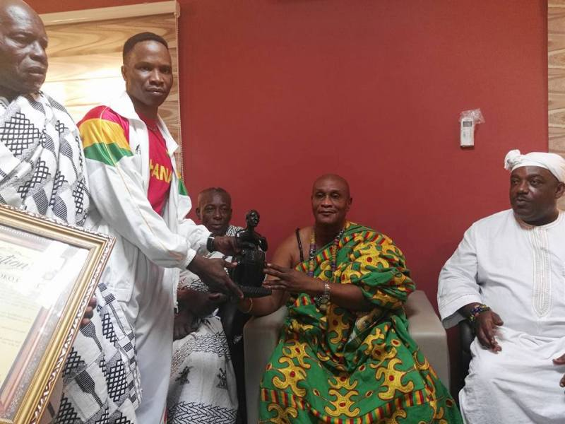 Alhassan Okine being honored by Boni King Tackie Adama Latse II