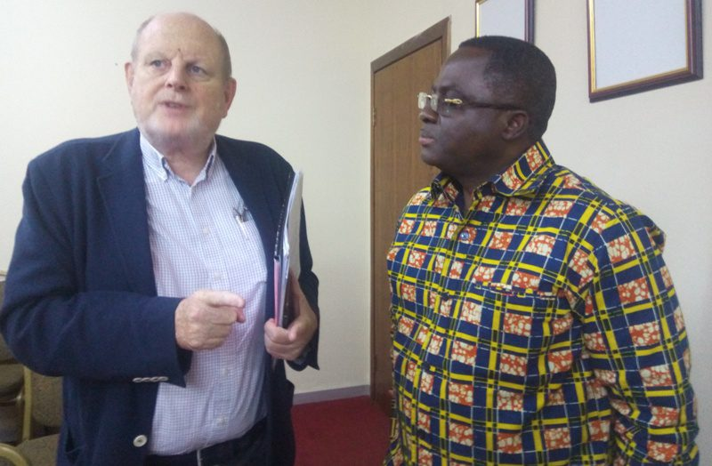 Mr. Henri Wientjes [left] having a chat with Ben Nunoo Mensah