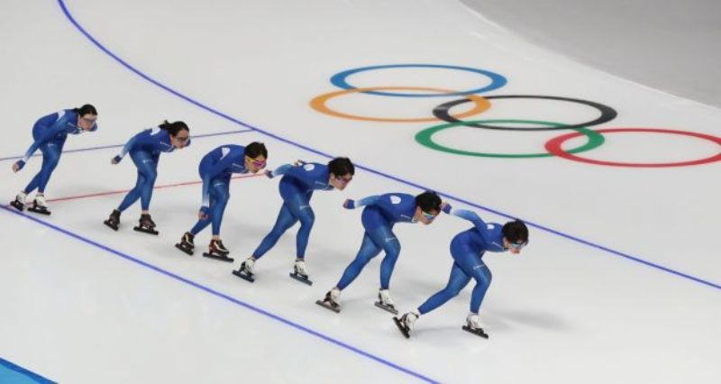 Members of the South Korean Speed Skating team practice at the Gangneung Oval