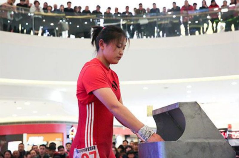 A competitor getting ready for her turn