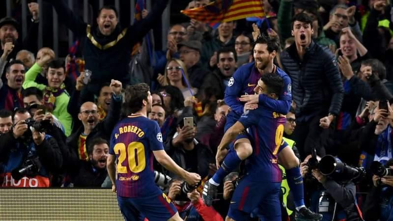 Lionel Messi celebrates his opening goal