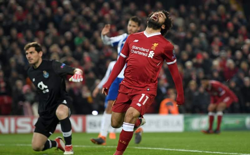 Mohamed Salah of Liverpool reacts versus FC Porto