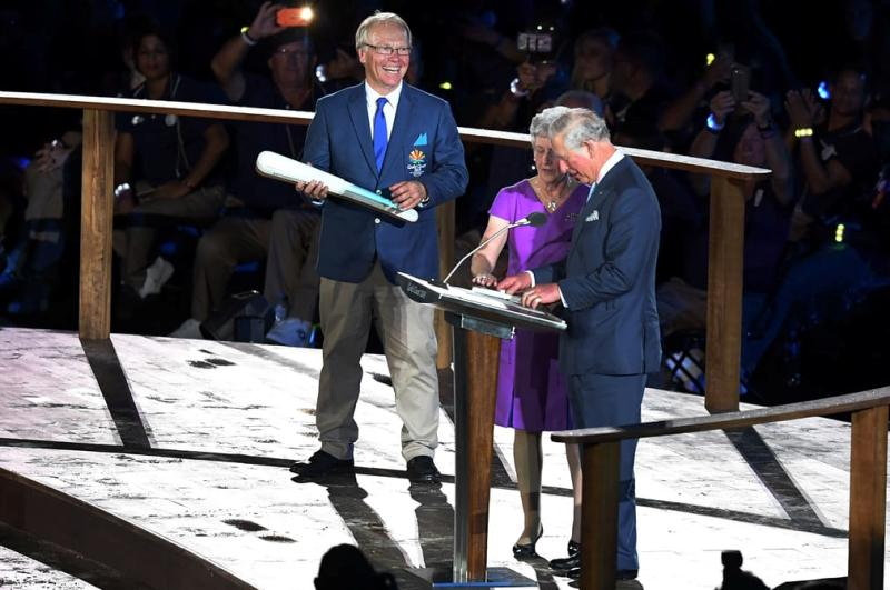 Prince Charles reading the goodwill message on behalf of the Queen