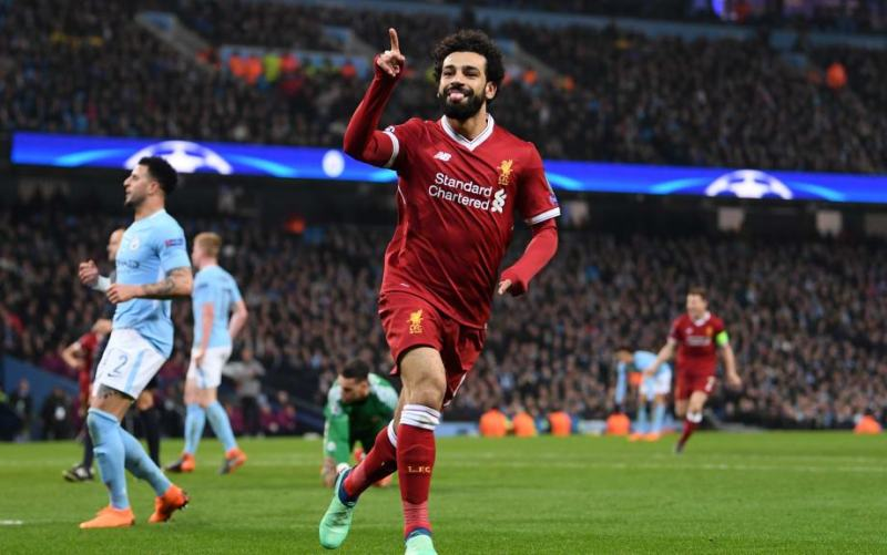 Mohamed Salah of Liverpool celebrates after scoring his sides first goal
