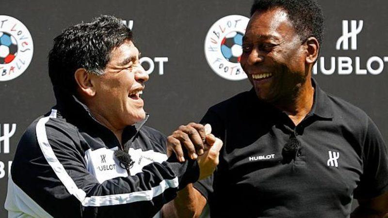 Pele [right] meets Maradona