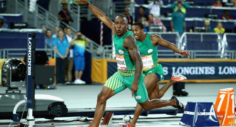 South Africa's Akani Simbine wins gold as he crosses the line