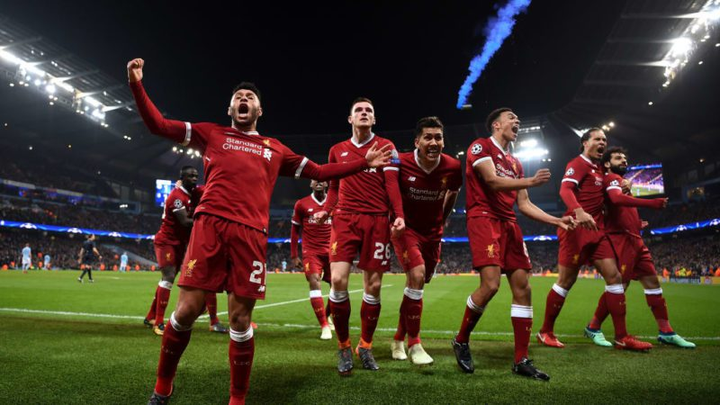 The Liverpool players celebrates after their sides first goal