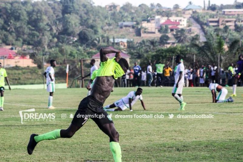 Zuberu Sharani [Dream FC] celebrating after finding the net