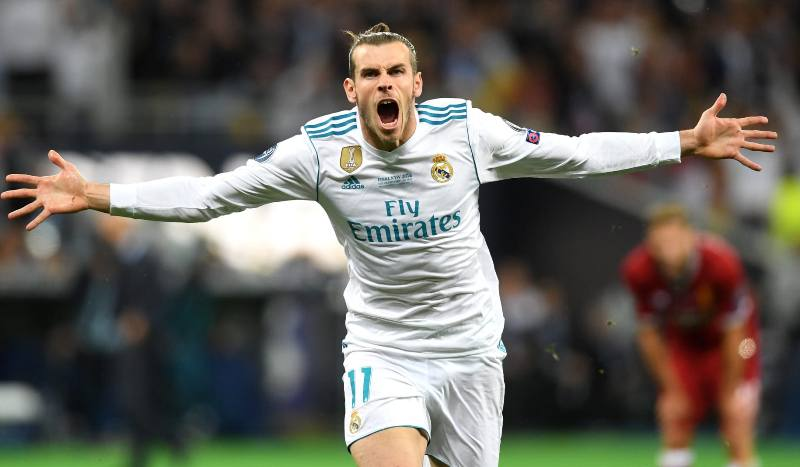 Gareth Bale celebrating his acrobatic goal against Liverpool