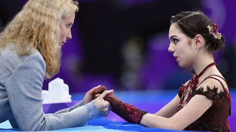 Evgenia Medvedeva [R] and her coach Eteri Tutberidze
