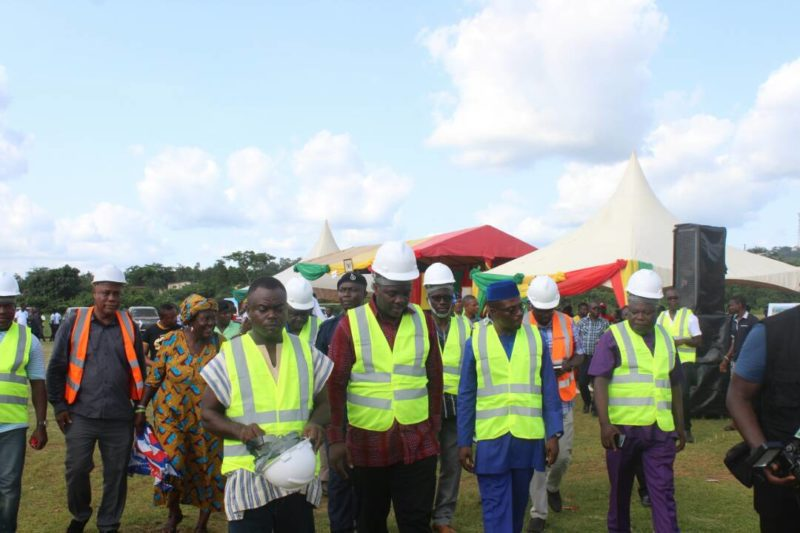 Hon. Isaac Asiamah breaks the ground for the construction of multi purpose sports complex