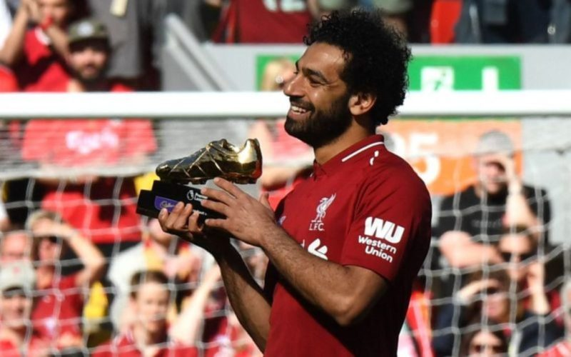 Mo Salah receives his Golden Boot award after Liverpool's win over Brighton