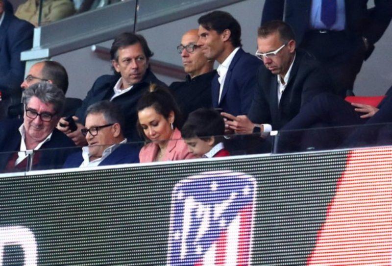 Rafael Nadal pictured at the Atletico Madrid vs. Arsenal second leg game at the Wanda Metropolitano