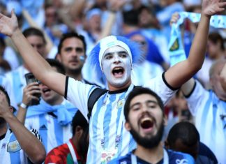 A section of the Argentine fans throwing their weight behind their team
