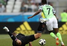 Ahmed Musa beats the Iceland goalie