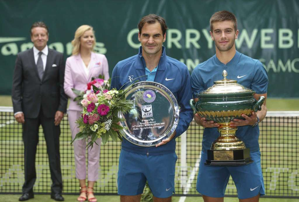 Coric and Federer takes a photo shot