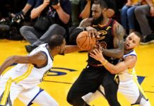 LeBron James been sandwiched by Kevin Durant and Steph Curry