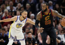 LeBron James is defended by Golden State Warriors' Stephen Curry during Game 3 of the NBA Finals