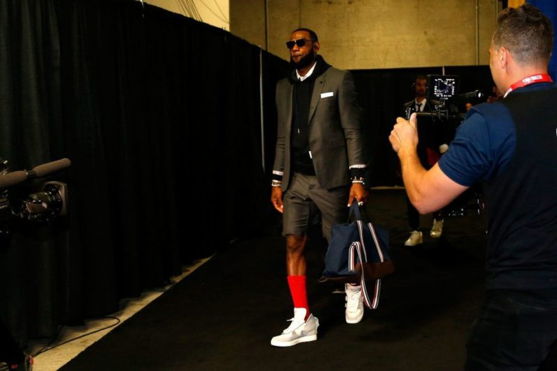 LeBron James wearing suit with shorts to NBA Finals, Game 2