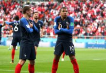 Mbappe [10] celebrating with Griezmann