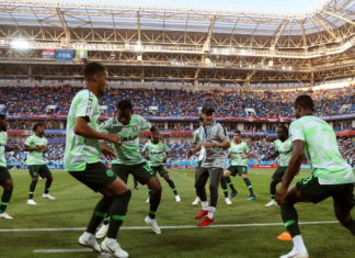 The Super Eagles warming up prior to their match against Croatia