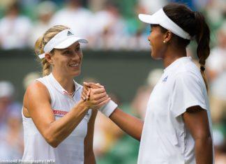 Angelique Kerber shares a friendly shake with Naomi Osaka