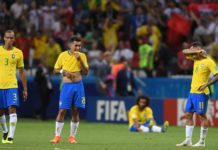 Brazil players looks dejected following their elimation from the 2018 FIFA World Cup