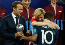 Croatian President Kolinda Grabar-Kitarovic gives Mbappe warmth embrace