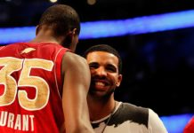 Kevin Durant [35] meets Drake