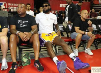 LeBron James watching from court side