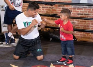 Mikey Garcia sparring with his son