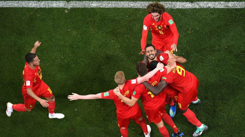 Nacer Chadli of Belgium celebrates after scoring his team's third goal