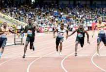 Christian Coleman wins men's 100m at the Müller Grand Prix